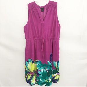 Lane Bryant Sleeveless Purple Floral Pocket Dress